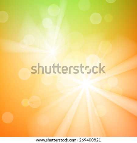 Abstract bokeh sparkles on yellow and green blurred background. - stock vector