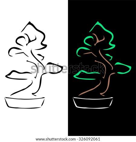 Abstract bonsai drawing - stock vector