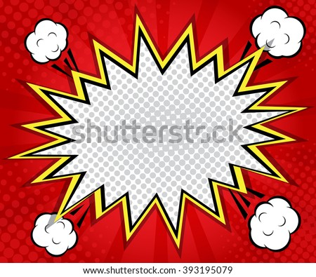 abstract boom blank speech bubble pop art, comic book on red  background vector illustration