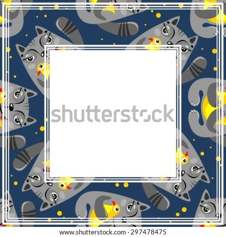 Abstract border with cat and bird pattern on a dark background. - stock vector