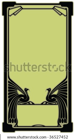 Abstract border with the bird who has stretched wings in style art-nouveau