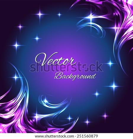 Abstract boreal background with stars. Vector illustration - stock vector