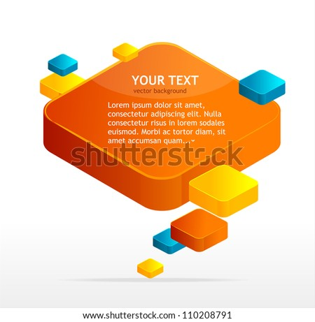 Abstract box speech bubble vector - stock vector