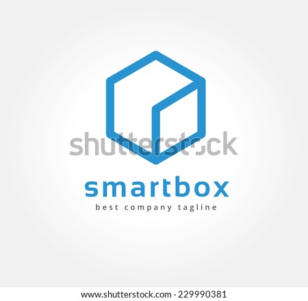 Abstract box vector logo icon concept. Logotype template for branding and corporate design. Key ideas is design, globe, creative, box, element. - stock vector