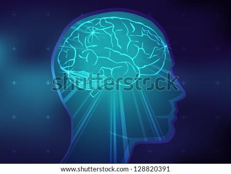 Abstract Brain Illustration - stock vector