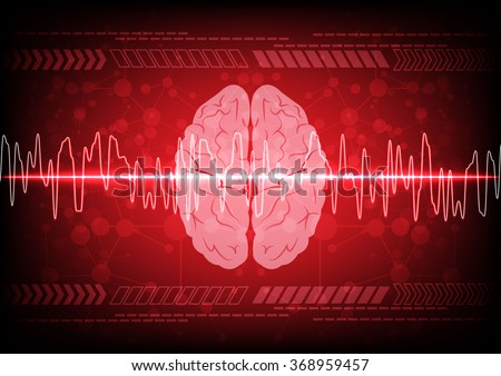 Abstract brain wave concept on blue background technology. illustration vector design