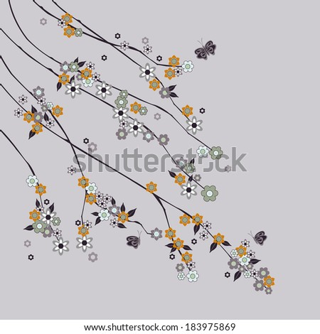 abstract branches with flowers - stock vector