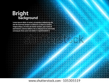 Abstract bright background with blue crossing rays - stock vector