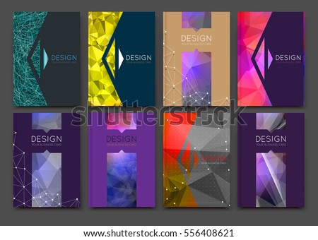 Abstract bright binder art. Patch color a4 brochure cover design. Blurb info banner frame. Elegant ad flyer text font. Title sheet model set. Fancy vector front page. Low polygonal arrow figures icon