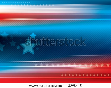 Abstract bright blue and red background with stars - stock vector