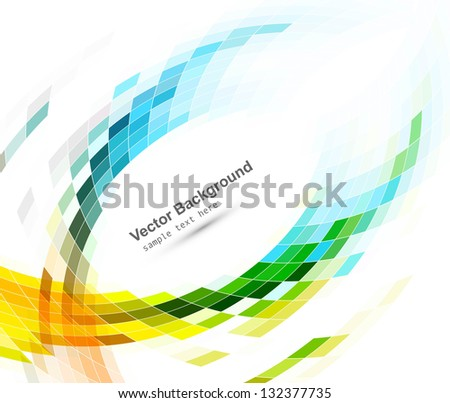 abstract bright blue colorful mosaic wave white vector - stock vector