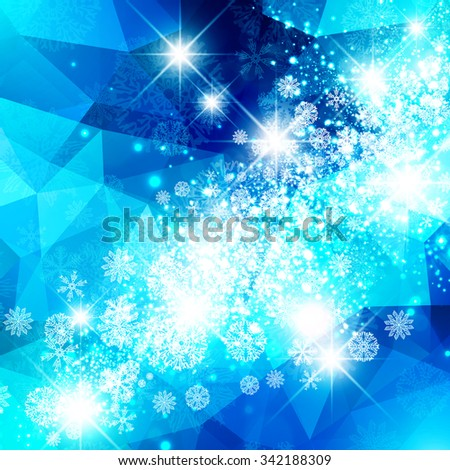 Abstract Bright Blue Snowflake Christmas Star Background - stock vector