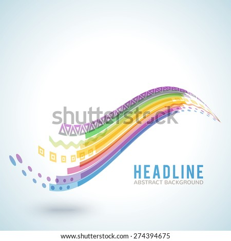 Abstract bright colorful wave isolated on white background. Vector illustration for modern business design. Futuristic wallpaper. Cool element for presentation, card, flyer and brochure. - stock vector