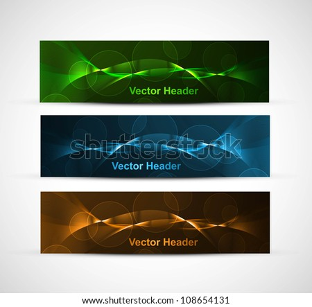 abstract bright colorful website header set vector illustration - stock vector