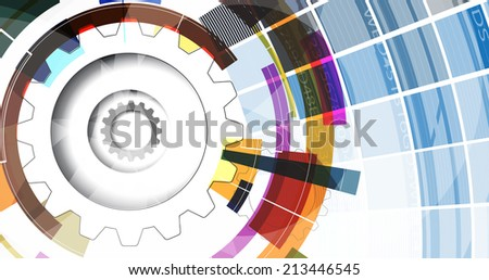 abstract bright gear blue cube vector technology background. computer integration - stock vector