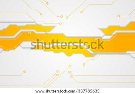 Abstract bright orange technology background. Vector design - stock vector