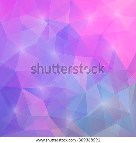 Abstract bright pink, purple and blue colored polygonal vector triangular geometric background for use in design for card, invitation, poster, banner, placard or billboard cover - stock vector