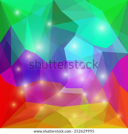 Abstract bright rainbow spectral colored polygonal vector triangular geometric background with glaring lights for use in design for card, invitation, poster, banner, placard or billboard cover