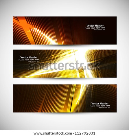 abstract bright shiny colorful line wave header set - stock vector