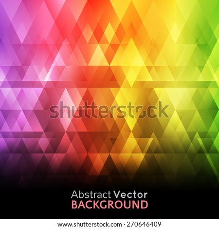 Abstract bright spectrum wallpaper. Vector illustration for modern disco design. Cool pattern background. Rainbow and black colors. Diamond and square shapes with lights and glows. - stock vector