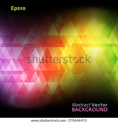 Abstract bright spectrum wallpaper. Vector illustration for modern disco design. Cool pattern background. Rainbow and black colors. Diamond and square shapes with lights and glows.