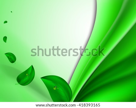 Abstract bright summer background with green leaves flying in the wind and vertical green stripes, vector illustration