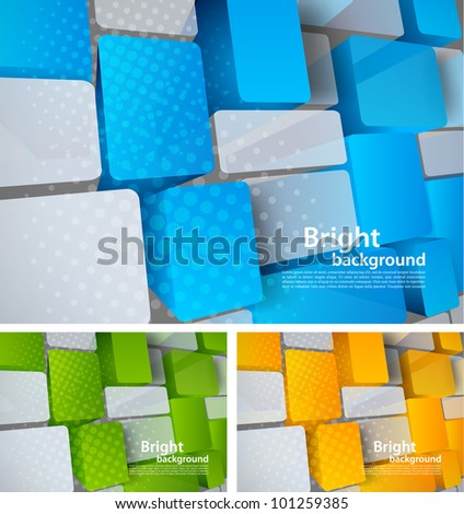 Abstract bright tech background with 3d element - stock vector