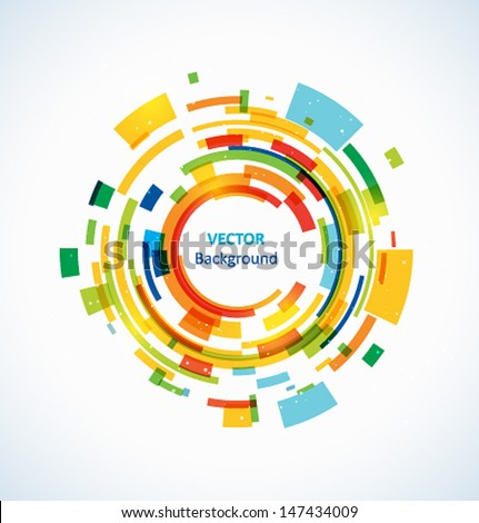 Abstract bright technology circles vector background - stock vector