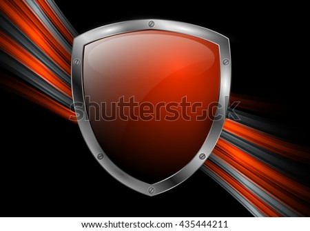 abstract bright vector background with colorful lines and shield. Eps10