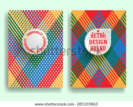 Abstract Brochure Design . Vintage Set Of Different Geometrical Textured Brochures and Retro Design Elements. Retro Flyers , Banners , Posters with Linear Textures . Colorful Patterns . - stock vector