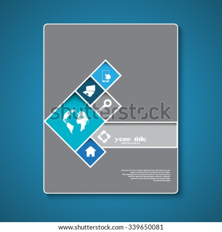 Abstract brochure template design with squares and rectangles - stock vector