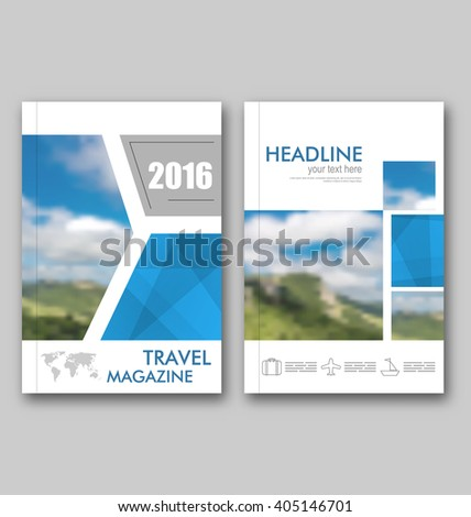 Abstract Brochure Template of Travel Magazine, Cover Design Annual Report - Vector - stock vector