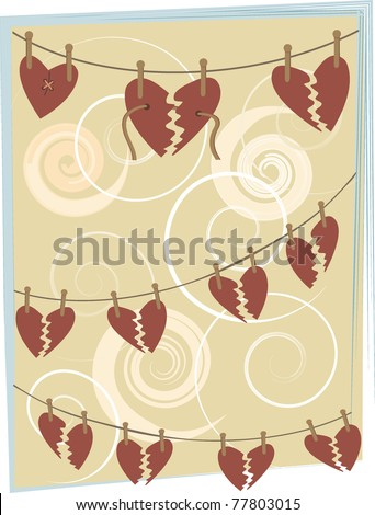 Abstract broken hearts hang from clothespins background illustration - stock vector