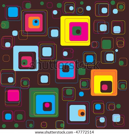 abstract brown background with colored squares