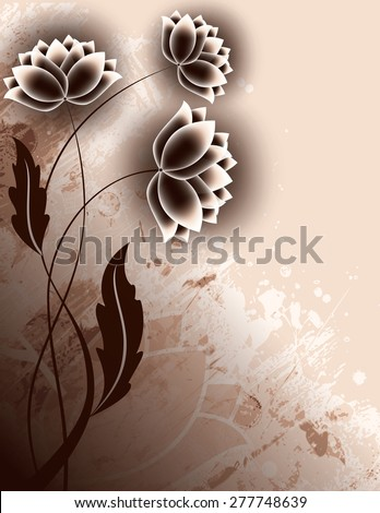 Abstract Brown Background with Flowers. - stock vector