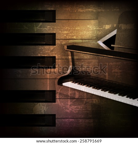 abstract brown grunge music background with grand piano - stock vector