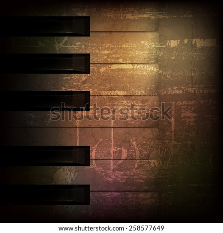 abstract brown grunge music background with piano keys - stock vector