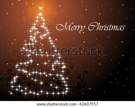 abstract brown seamless floral background with xmas tree