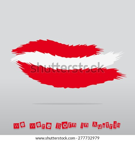 Abstract Brush Austria Flag With Text - stock vector
