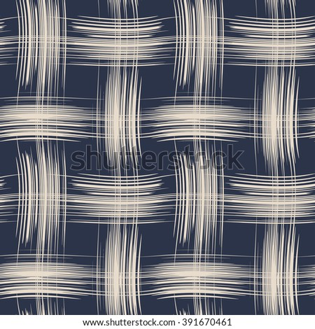 Abstract brush stroke basket weave checked motif. Seamless pattern. - stock vector