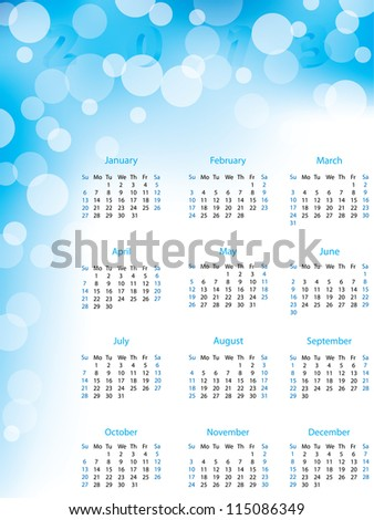 Abstract bubble 2013 calendar in blue and white color - stock vector