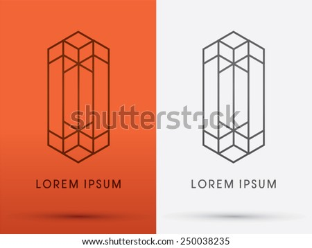 Abstract Building,architecture, designed using line, logo, symbol, icon, graphic, vector. - stock vector