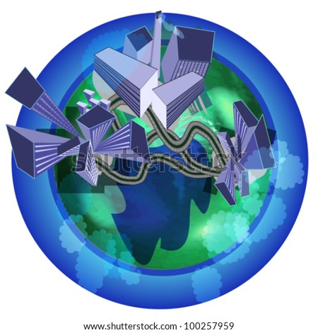 Abstract buildings on  the globe - stock vector
