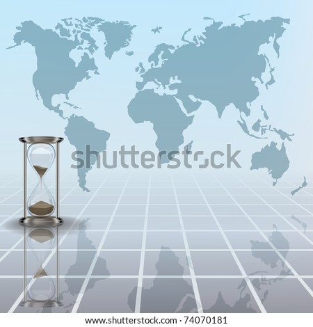 abstract busines illustration with hourglass and earth map on blue - stock vector