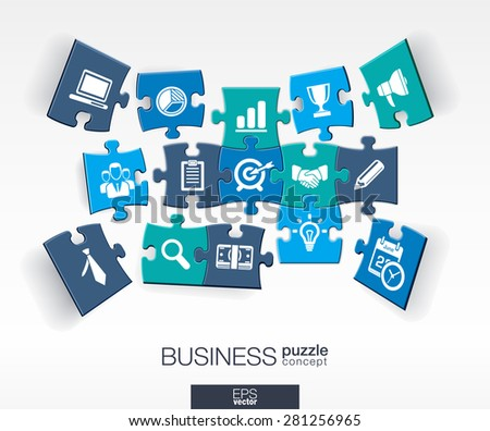 Abstract business background, connected color puzzles, integrated flat icons. 3d infographic concept with marketing research, strategy, mission, analytics pieces in perspective. Vector illustration. - stock vector