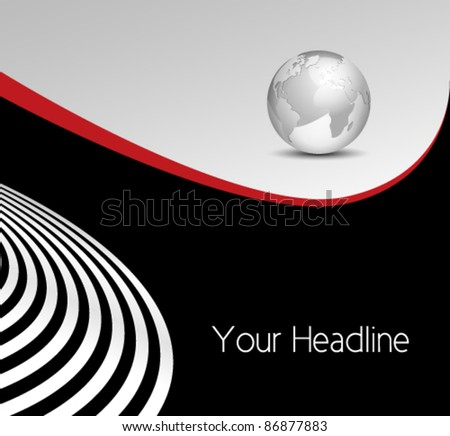 Abstract business background - globe with curved lines - stock vector