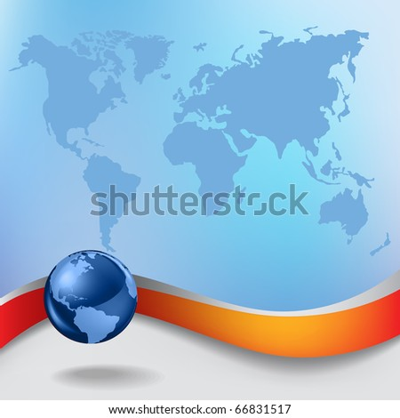 Abstract business background with blue globe and earth map - stock vector