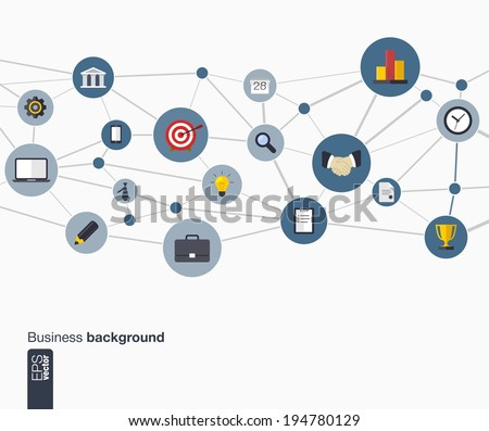 Abstract business background with lines, connected circles and flat icons. Network concept for business, communication, marketing research, strategy, mission, analytics and web design. Vector. - stock vector