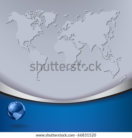 Abstract business background with map and blue globe - stock vector