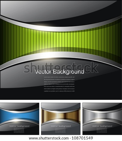 Abstract business backgrounds, glossy black with colorful banner inside. - stock vector
